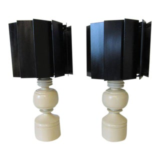 Mid-Century Turned Wood Lamps With Turbine Styled Wood Shades - a Pair For Sale