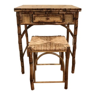 Boho Chic Bamboo Writing Desk With Stool - 2 Pieces For Sale