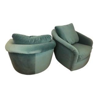 1980s Vintage Swivel-Tilt Tub Chairs by Milo Baughman for Thayer Coggin - a Pair For Sale