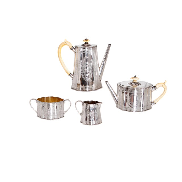 19th Century English Sterling Silver 4 Piece Coffee and Tea Service For Sale