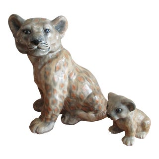 Vintage Ceramic Lion and Cub Figurines - a Pair For Sale