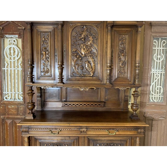 Wood 19th Century French Gothic Renaissance Carved Walnut Double Buffet / Cupboard For Sale - Image 7 of 12