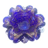 Image of 1960s Vintage Cobalt and Gold Murano Glass Bowl For Sale