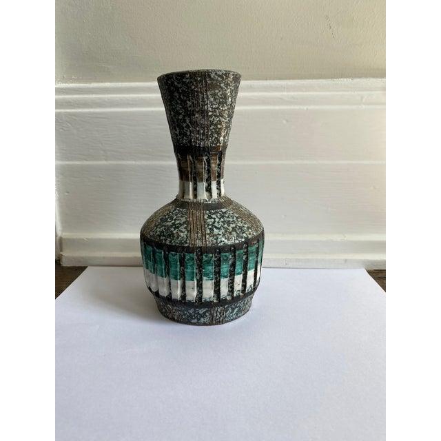 Italian Mid Century ceramic bud vase with pretty lava glaze