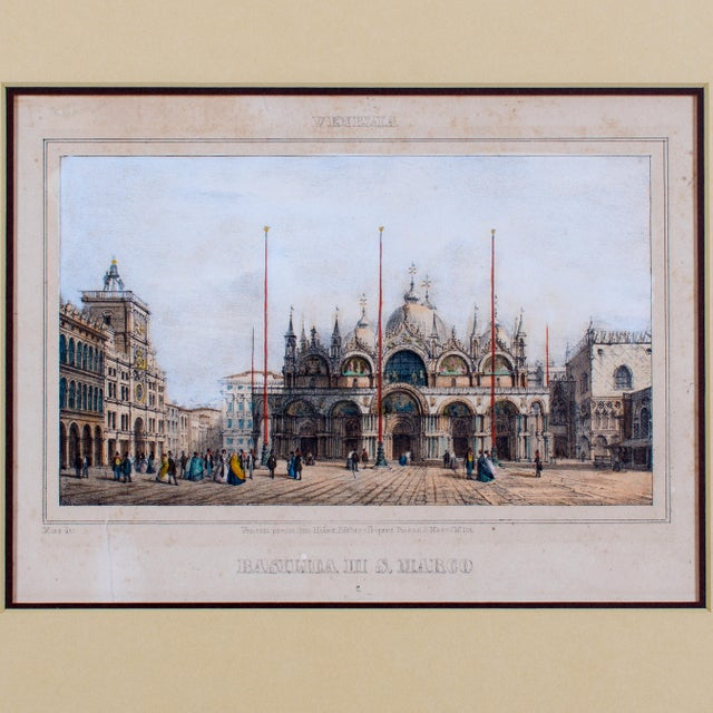 Venezia: Basilica di S. Marco after Marco Moro (1817-1885) Offered is a hand colored engraving of St. Mark's Cathedral...