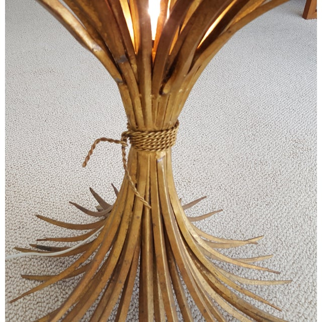 Gilt Wheat Sheath Lamp Table With Center Light For Sale - Image 4 of 6
