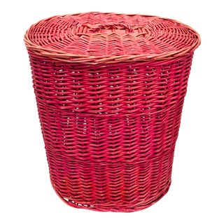 Vintage Hot Pink Woven Wicker Laundry Hamper Basket For Sale