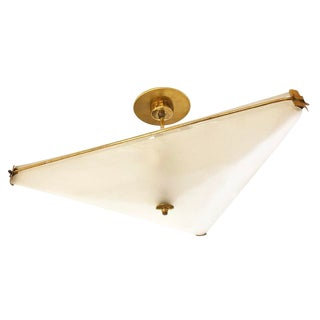 Triangle Brass Ceiling Light Attributed to Fontana Arte For Sale