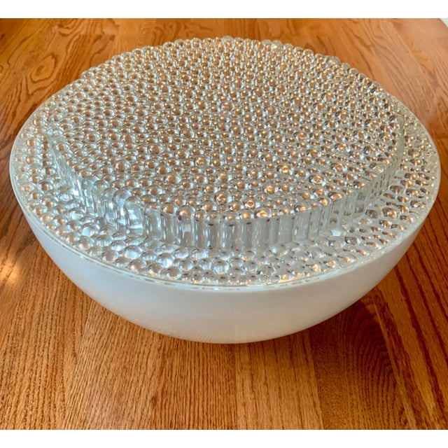 Mid Century Modern Opaque Resin Dome Pendant With Textured Light Diffuser For Sale In Atlanta - Image 6 of 9