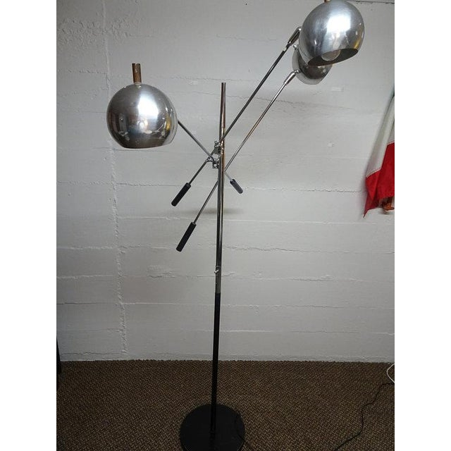 Silver 1960s Mid-Century Modern Robert Sonneman Chrome Triennale Atomic Orbiter Floor Lamp For Sale - Image 8 of 9
