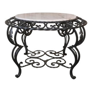 Antique Wrought Iron Marble Top Coffee Table For Sale