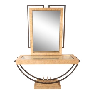 Midcentury Maitland Smith Style Vanity With Mirror For Sale