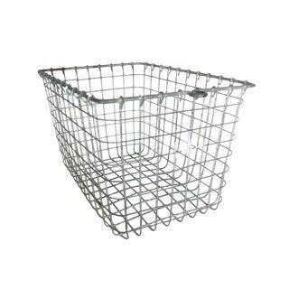 Vintage Wire Metal Locker Basket For Sale
