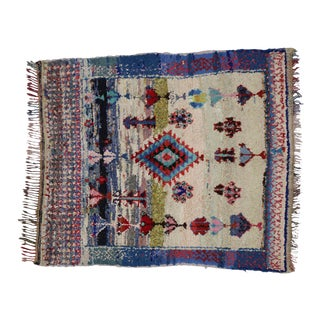 1990s Vintage Berber Tribes of Morocco Boucherouite Boho Chic Rug - 4′10″ × 5′4″ For Sale