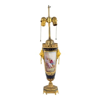 French Victorian Sevres Porcelain Table Lamp For Sale