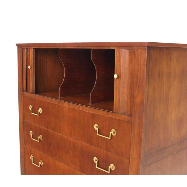 Baker Furniture Company Baker Modern Five Drawer High Chest Tambour Door Compartment Brass Hardware Pull For Sale - Image 4 of 7