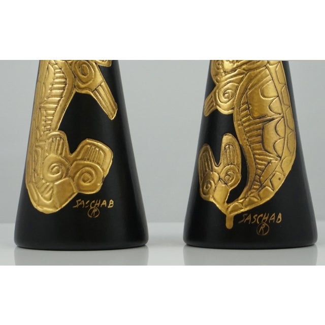 Mid-Century Modern Sascha Brastoff Alaska Series Black & Gold Vases - a Pair For Sale - Image 3 of 5