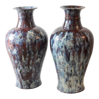 Antique 19th French Glazed Ceramic Vases - a Pair For Sale