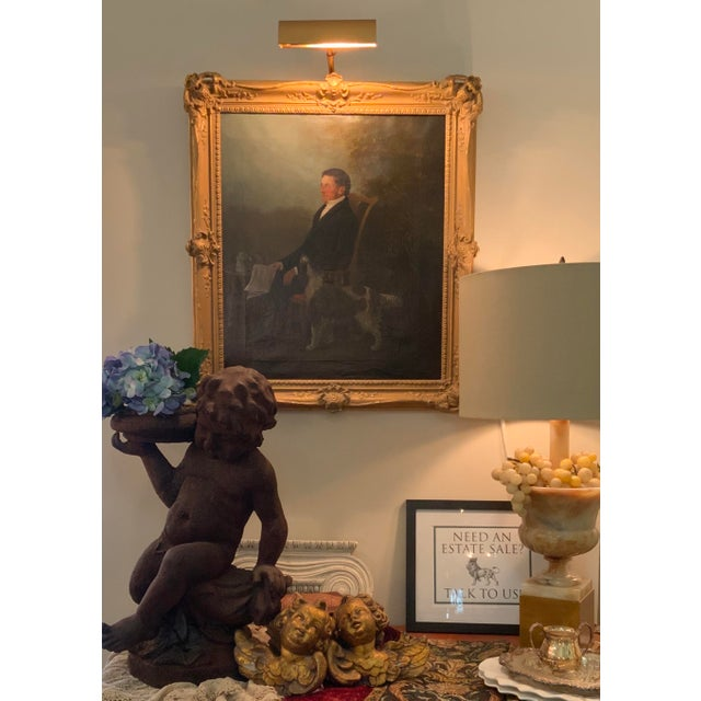 19th Century Portrait of a Distinguished Gentleman with Dog Oil Painting, Framed For Sale - Image 12 of 13