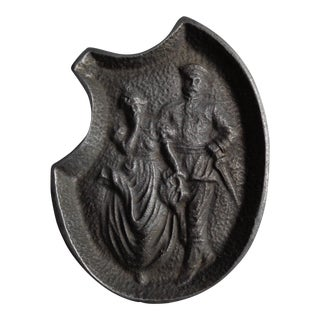 Vintage Soldier and Damsel Pewter Ashtray, With Surprise
