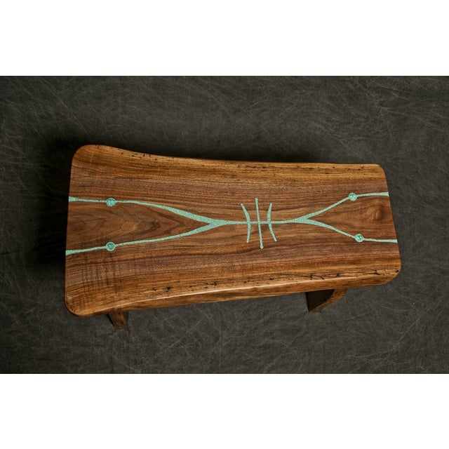 Boho Chic Black Walnut Live Edge Turquoise Inlay Slab Bench For Sale - Image 3 of 6