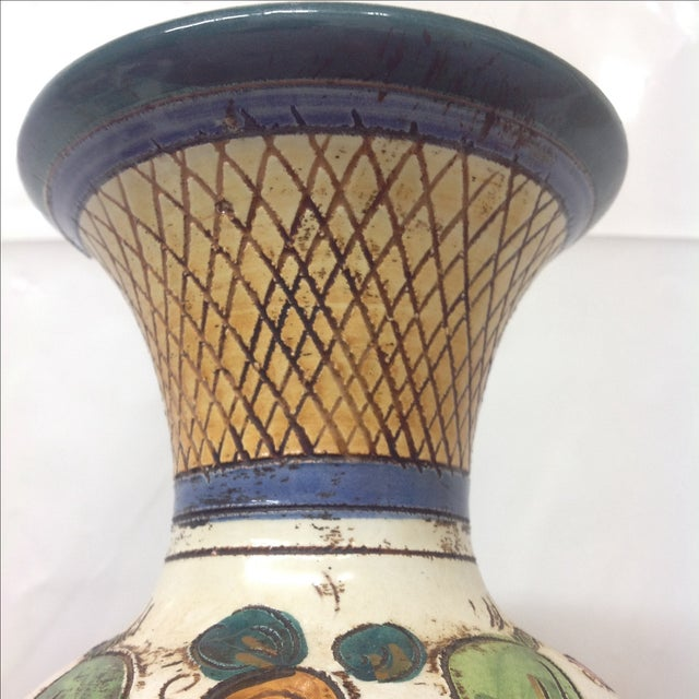 Large Mid Century Italian Hand Decorated Vase For Sale In Dallas - Image 6 of 8