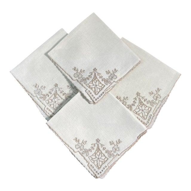 Vintage Ivory Linen Embroidered Cocktail Napkins- Set of 4 For Sale