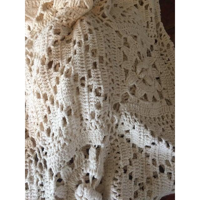 Linen & Cotton Crochet Throw Blanket - Image 4 of 9