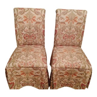 Fabric Parsons Chairs- A Pair For Sale