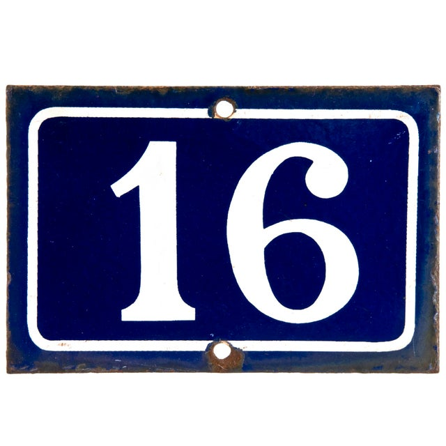 French Enamel Number 16 House Sign - Image 1 of 2