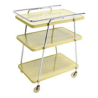 Mid-Century Modern Enameled Metal Serving Cart, circa 1950s For Sale