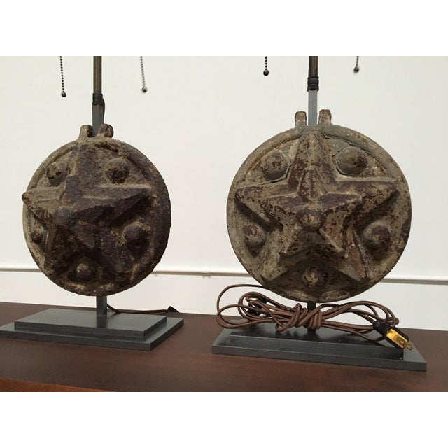 Circa 1860 Antique Iron Star Table Lamps - A Pair For Sale - Image 5 of 8