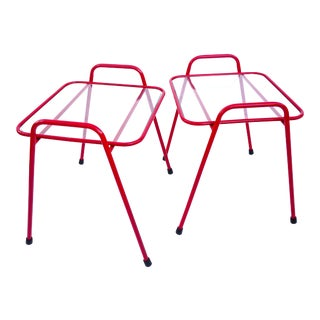 Mid-Century Modern Red Metal & Glass Indoor/Outdoor Accent Tables For Sale