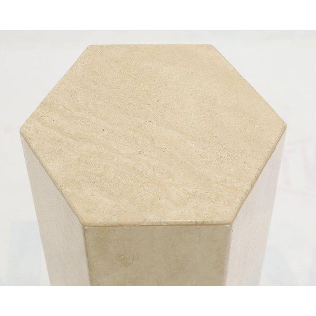 """Two non matching pair of Mid-Century Modern travertine hexagon shape side tables pedestals. Measures: 25 and 30"""" high..."""