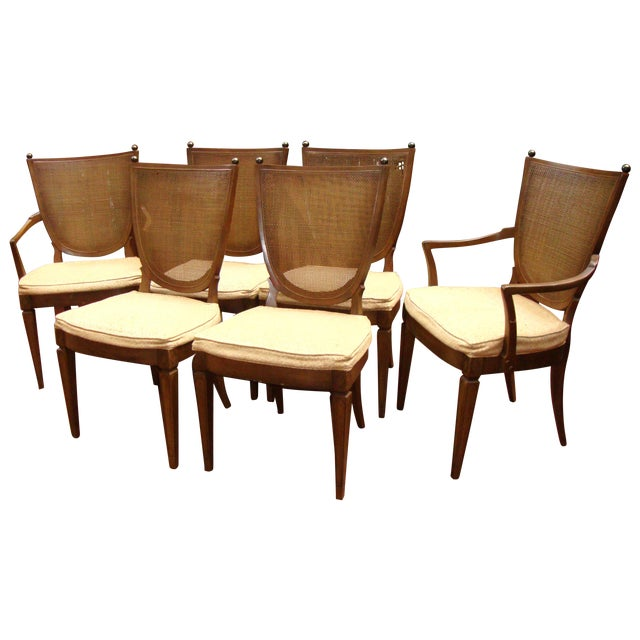 Thomasville Italian Cane Brass Dining Chairs - 6 - Image 1 of 11