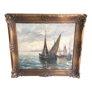 Early 20th Century Antique Wilhelm Burger Seascape Oil on Canvas Painting For Sale