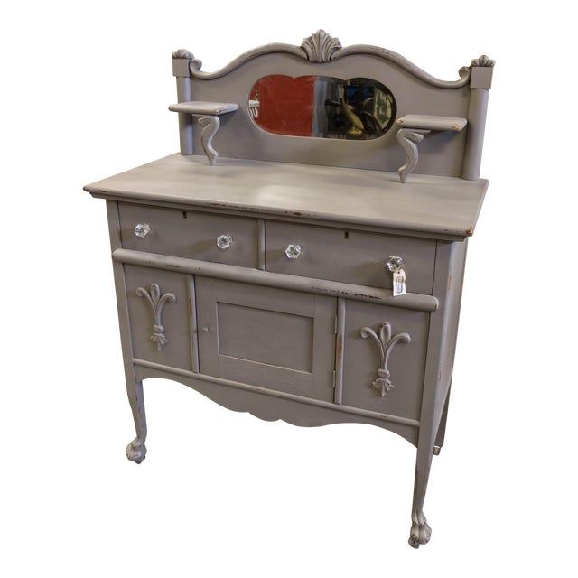 Vintage Gray Sideboard Cabinet With Mirror For Sale