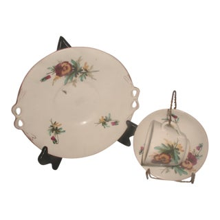 19th C. English Porcelain Place Setting On Display Stands
