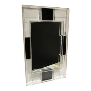 1970s Vintage Lucite Clear and Black Open Framework Wall Mirror For Sale