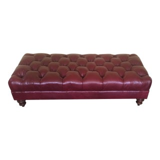 Stickley Maroon Tufted Leather Bench For Sale