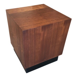 Vintage Mid-Century Walnut Cube Side Table For Sale