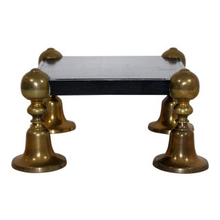 1960s Mid-Century Modern Brass Black Lacquer Wood Pedestal Table For Sale