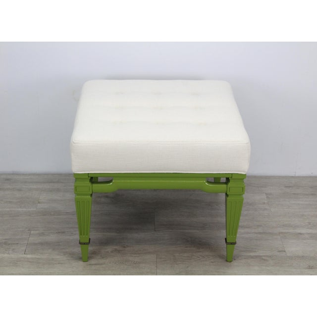 Mid-Century Modern Mid-Century Cream Linen Benches, a Pair For Sale - Image 3 of 13