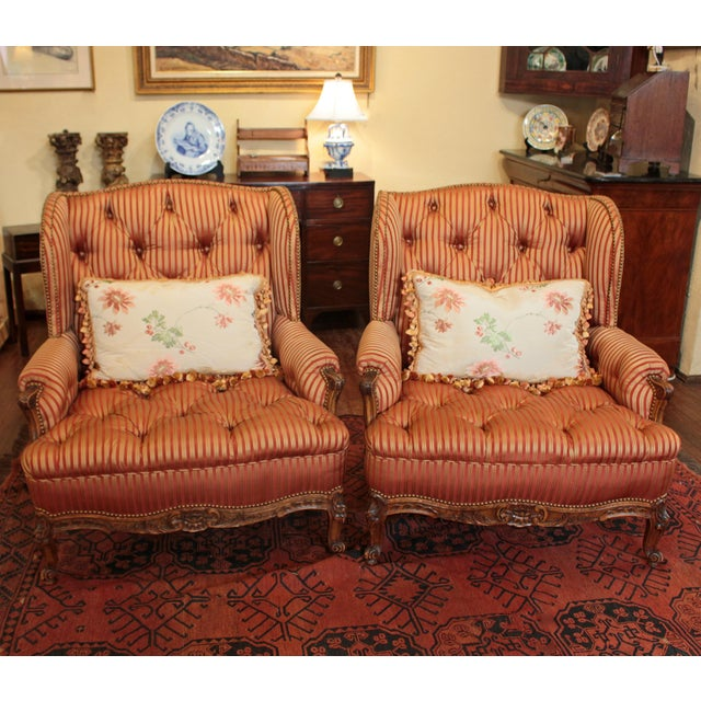 C. 1900 French Louis XV Bergere Chairs - a Pair For Sale - Image 10 of 10