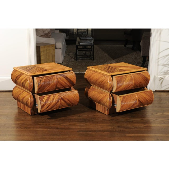 Mid-Century Modern Magnificent Restored Pair of Bullnose Small Chests in Bamboo, Circa 1980 For Sale - Image 3 of 13