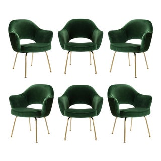 Saarinen Executive Armchairs in Emerald Velvet 24k Gold Edition - Set of 6 For Sale