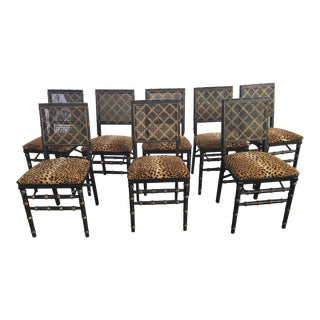 8 Leopard Print Folding Chairs Faux Bamboo Cane For Sale