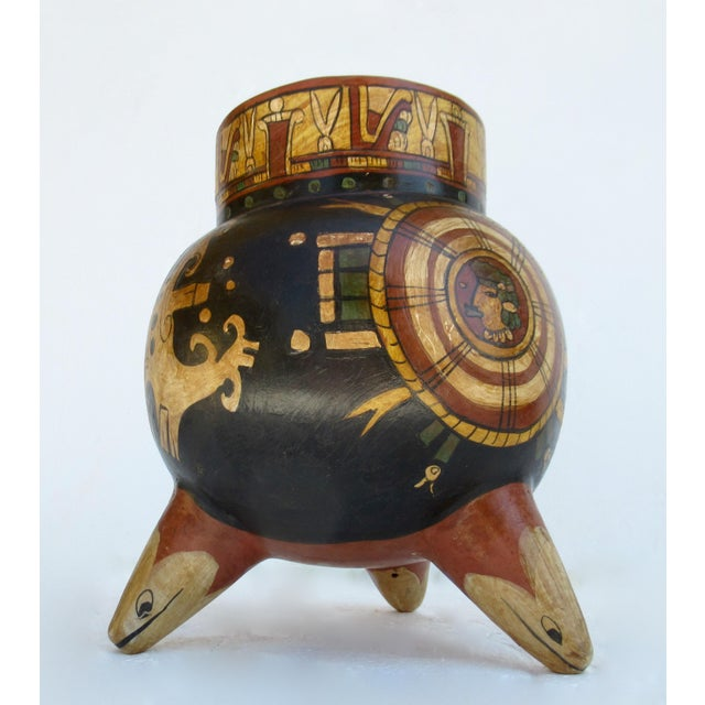 C.1935-50s Vintage Mexican Hand-Made Terra-Cotta Bulbous Calabash Olla, 3-Legged Vessel For Sale - Image 4 of 13
