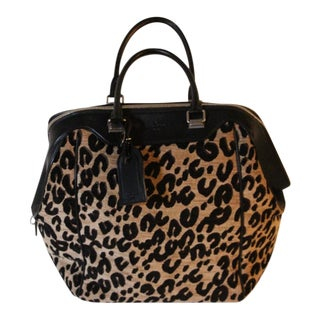 "Louis Vuitton Limited Edition ""North South"" Leopard Canvas and Black Leather Bag For Sale"