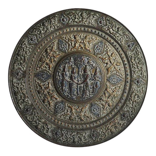 19th Century Tanjore Brass Plaque #1, South India For Sale